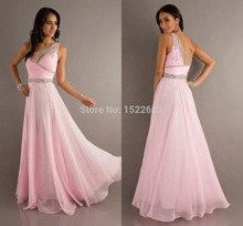 цена на Charming A Line One-Shoulder Beading Sleeveless Floor-length Chiffon Prom Dresses Formal Evening Dress