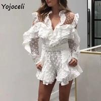 Yojoceli sexy white chiffon dot jumpsuit romper women ruffle party playsuit 2019 summer jacquard romper