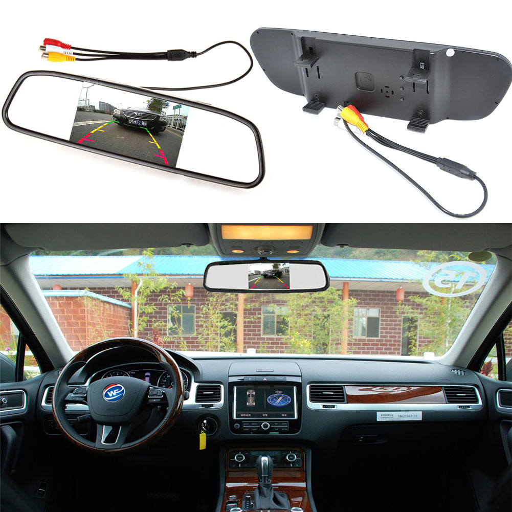 4.3 Digital Color TFT LCD Car Monitor Rearview Mirror Security Monitor for Car Camera DVD VCR PAL/NTSC DC12V 2 Video Input Port