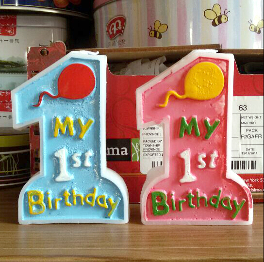 happy birthday art Candle Decoration my 1st birthday Smokeless