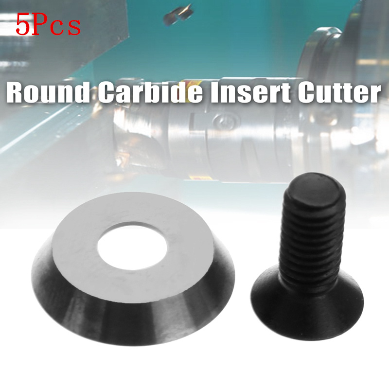 5Pcs 16mm 5/8 Inch Round Carbide Insert Cutter 30 Degrees Milling Cutter for Finisher Wood Turning Lathe Tool c16q sclcr09 carbide turning tool holder diameter 16mm length 180mm use tungsten insert