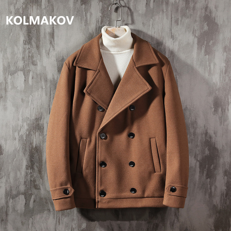 2019 Winter high quality Men's Wool Coats Double breasted Casual Overcoat Mens Fashion Classic Business trench coat men