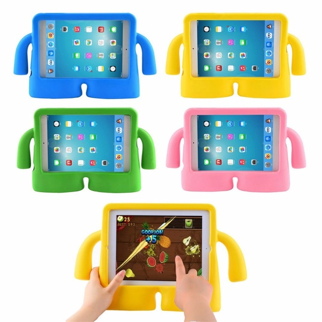 все цены на  Cute 9.7 inch EVA Kids Case Cover Thick Foam Shock Proof Soft Handle Stand Case For Apple For iPad 2 3 4 Hot Sale In stock!!!  онлайн