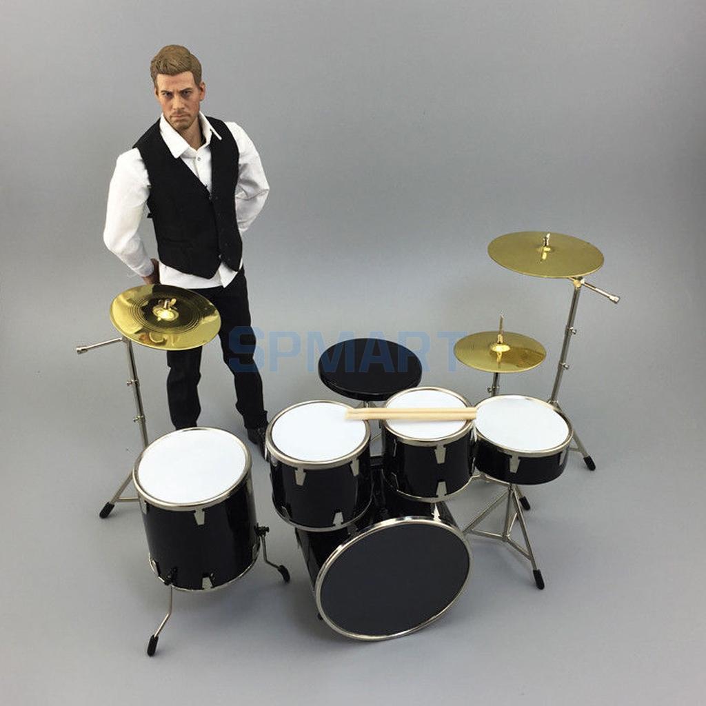 """1:6 skala miniaturowy perkusja 7 sztuk kompletny perkusja Instrument muzyczny dla 12 """"Hot zabawki figurka lub Blythe BJD lalki w Mebelki zabawkowe od Zabawki i hobby na  Grupa 1"""