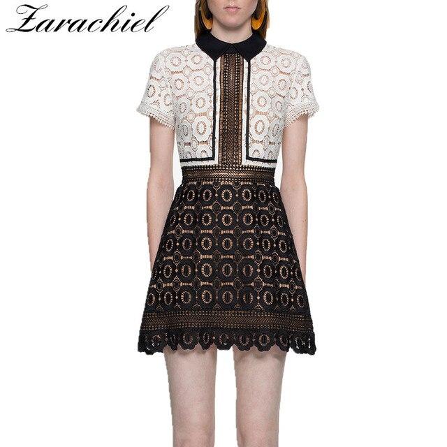 0d90c9a463a3 Zarachiel Self-Portrait Black White Patchwork Lace Dress Women s Short  Sleeve Flower Water Soluble Lace Hollow Out Mini Dress