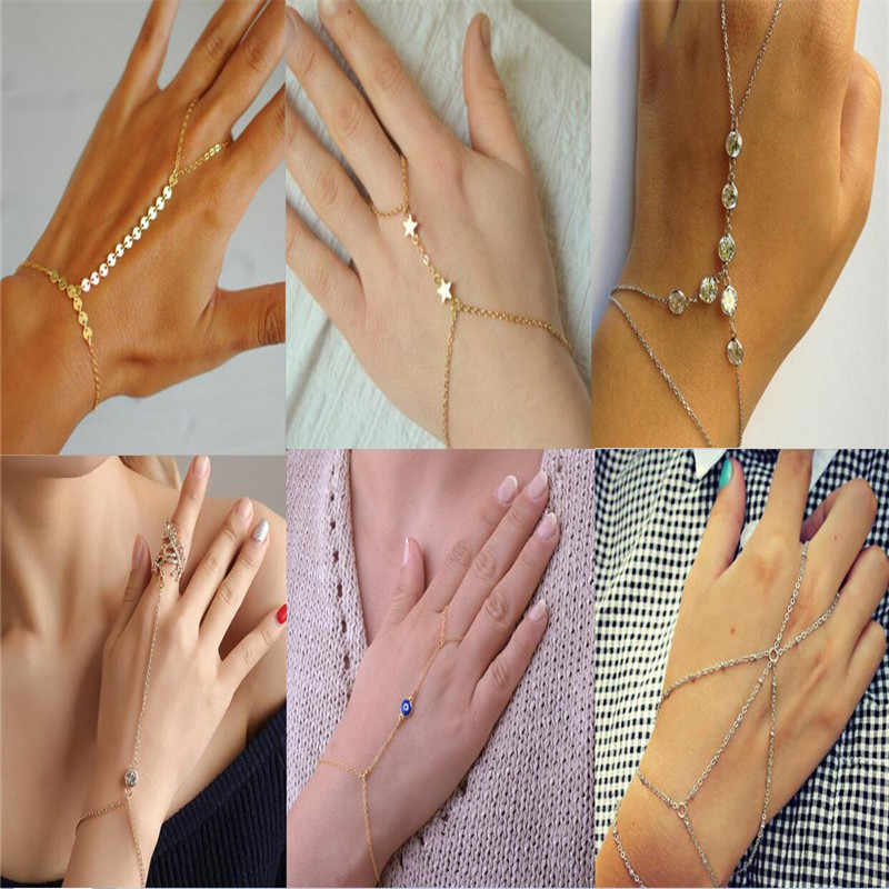 Hot Sale Charming Heart star Bracelets&Bangles For Women Girls Gold Silver Color Metal Bracelets Statement Jewelry Wholesale