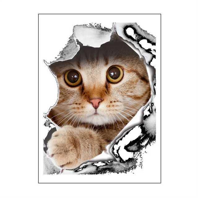 3D perro gato pared pegatinas de tocador Animal impreso baño decoración  pared adhesivo familia arte pegatinas c90996a420a6