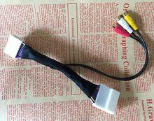 Adaptador de áudio e vídeo para carro 3rca, cabo azul de entrada e navegação por dvd para corolla reiz camry crown rav4 prado 28pin porta com porta