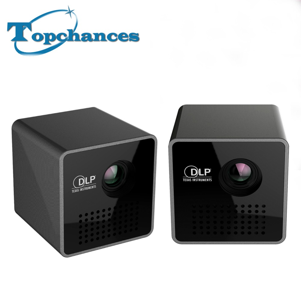 High Quality 2PCS/Lot Portable P1 WIFI Wireless Pocket Projector LPD HD Video Pico Built in Battery Audio Splitter