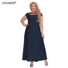 a43e29e00f6 2018 Summer Women Large size lace dress Elegant casual Plus Size Female  sundress long party maxi