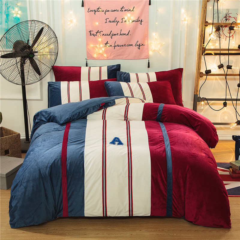 Sports Style Bedding Sets Sham Thick Flannel Duvet Cover Set Winter Warm Bedsheet Queen King Size Bed Set