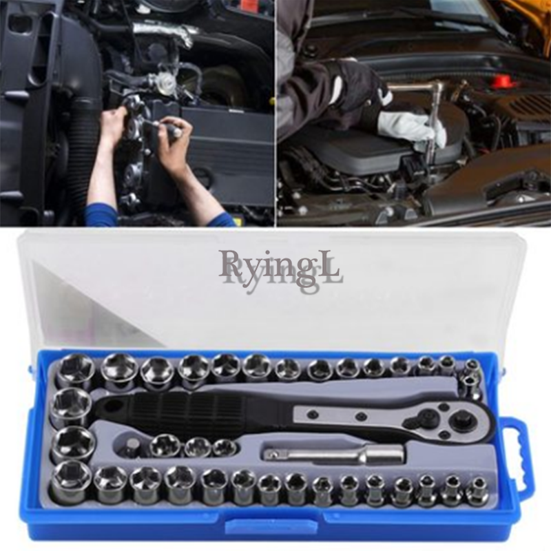 G1 1 Set of 38 Pcs Multi-functional 3/8 inch Imperial Metric Ratchet Driver Socket Wrench Hand Tool Set Mechanical Repair Tool