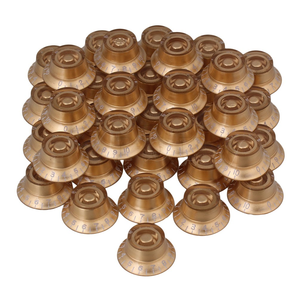 ФОТО Yibuy 200 x Hat Speed Control Knobs Gold with White Number for Electric Guitar