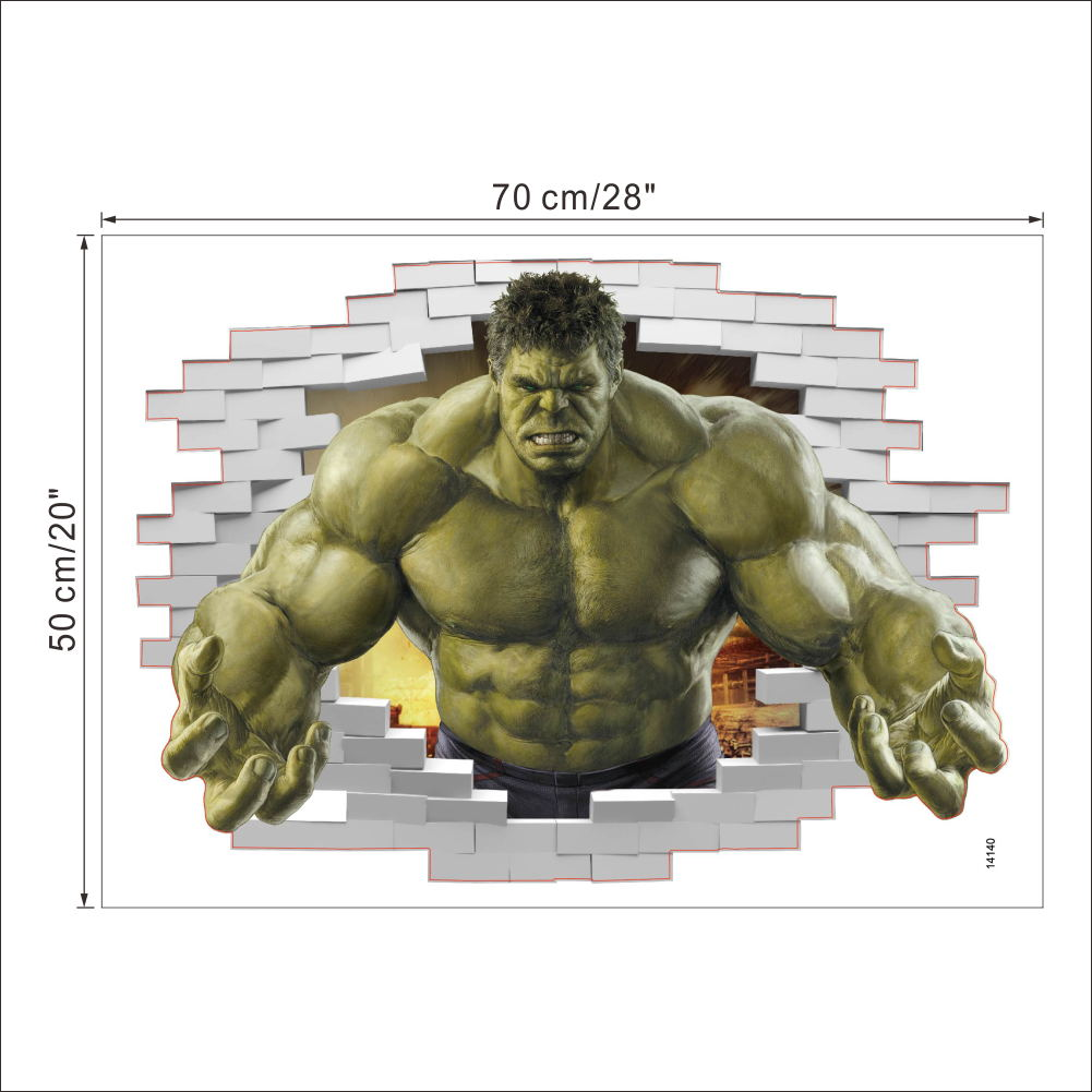 HTB1WcRTQpXXXXbLXpXXq6xXFXXXU - Superheroes Comic Avengers The Incredible HULK Wall Sticker For Kids Room