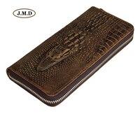 حقيقية جلد التمساح نمط سستة إغلاق تصميم الأزياء الرجال محفظة حقيبة صغيرة المال حامل الأزياء محفظة 8067R