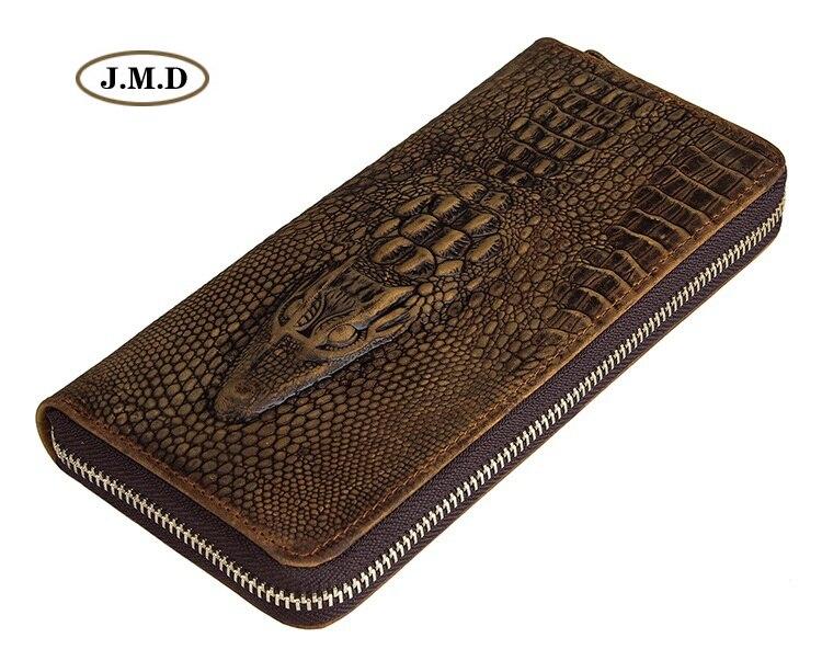 J.M.D Genuine Leather Crocodile Pattern Zipper Closure Fashion Design Men's Purse Clutch Bag  Money Holder Fashion Wallet 8067R