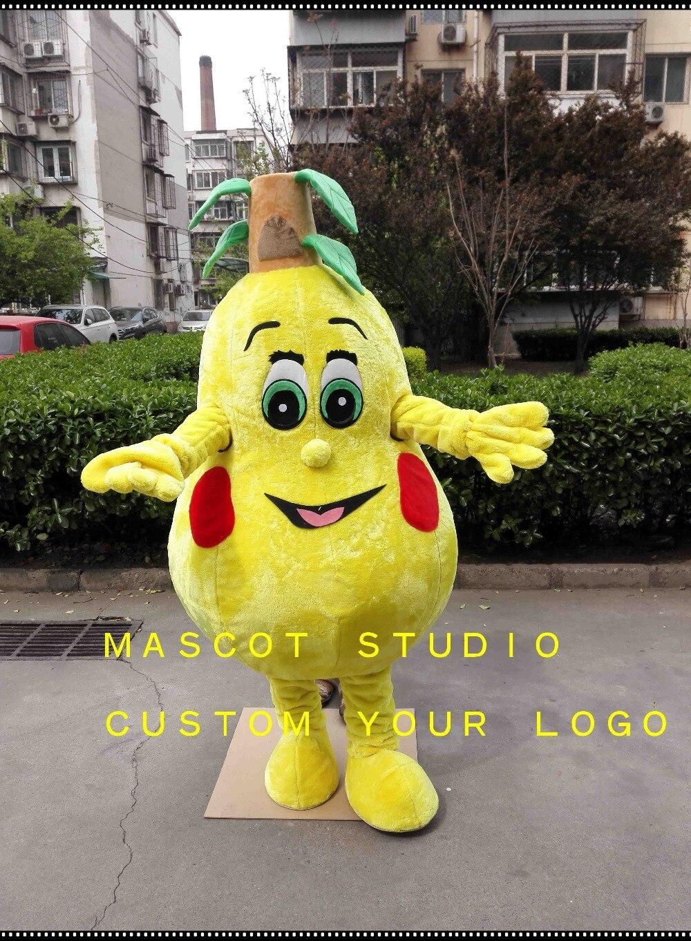 Yellow Pear Mascot Costume Custom Fancy Anime