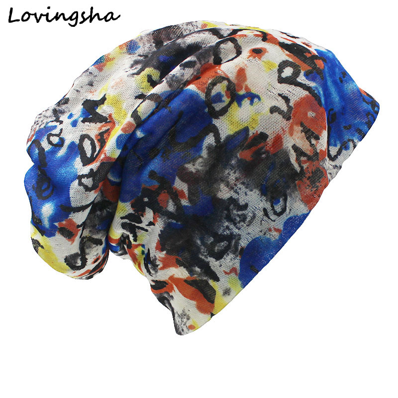 LOVINGSHA Brand Autumn And Winter Dual-use Hats For Ladies thin Graffiti Design   Skullies   And   Beanies   Women Scarf Face Mask HT011