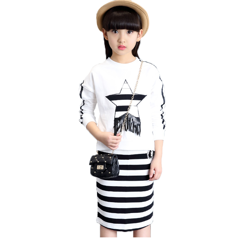 Kids Cotton Clothes Sets Girls Stripe Tops & Skirts Suits 3 5 7 9 12 Years Child T-shirts Bottoms Sets Girls Long Sleeve Outfits hot princess kids girls outfits clothes baby bow stripe dress shirts tank tops pants shorts