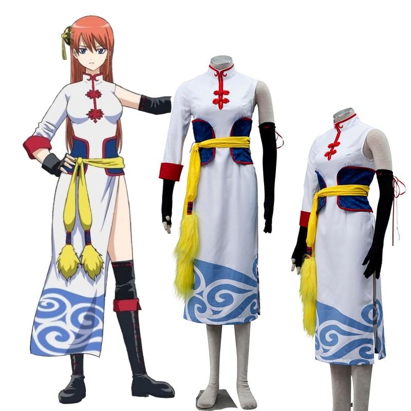 New Gintama Tama Kagura Kimono Cheongsam Cosplay Costume Beautiful Party Dress Customized Halloween