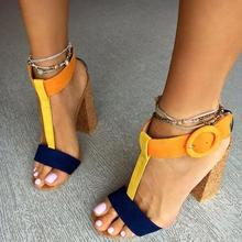 Orange and Navy T Strap Women Sandals Chunky Heels Ankle Buckle Strap Peep Toe Women Square Heels Sandals Summer Dress Shoes