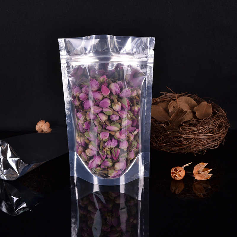 Translucent aluminum foil zipper Tea Preserved fruit stand food pouch clear bags for packaging reusable Self-sealed bag 100pcs