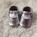 Mocassim Bebê Artesanal Criança Sapatos Mocassins de Couro Genuíno de prata Do Bebê