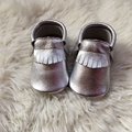 Silver Baby Moccasins Genuine Leather Baby Moccasin Handmade Toddler Shoe