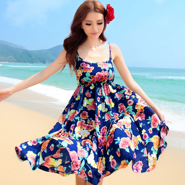 2b923d3e7e bohemia one piece dress beach dress spaghetti strap design-in ...