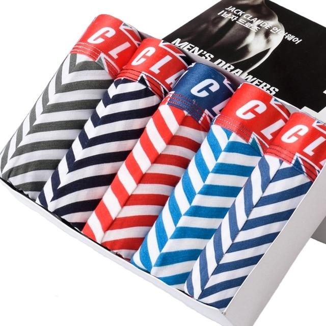 2016 Limited Sale Spandex Striped Men's Healthy Man Underpants 5 Pieces Stripe Combed Cotton Male Underwear Men Boxers
