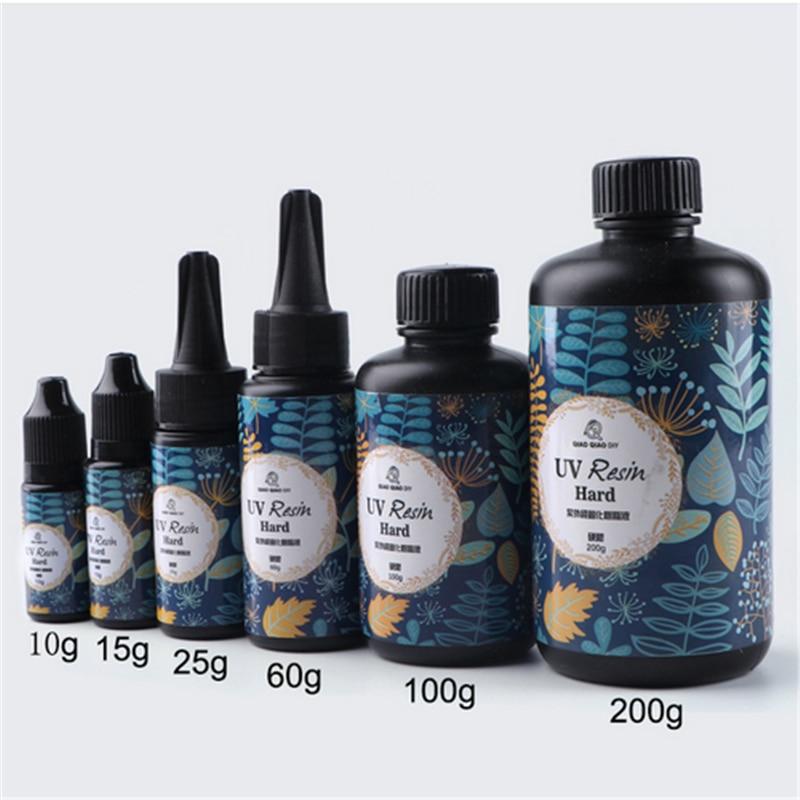 25/60/100 200g pegamento de resina UV Gel claro tipo duro Solar ultravioleta solidificar cura resina activada artesanías para DIY molde de joyería