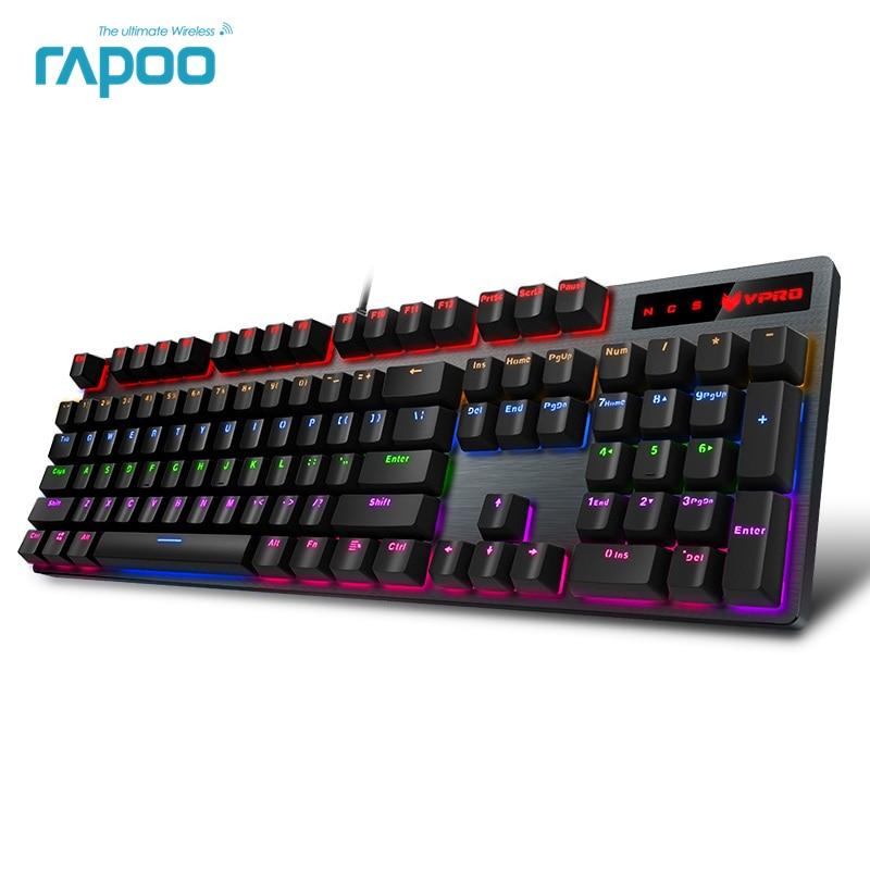 Rapoo V500PRO 104key Mechanical Keyboard USB Wired Gaming Keyboard with 7 Color Backlight for Desktop Laptop Computer Gamer mechanical keyboard usb wired gaming keyboard switch with backlight mode for desktop laptop gamer