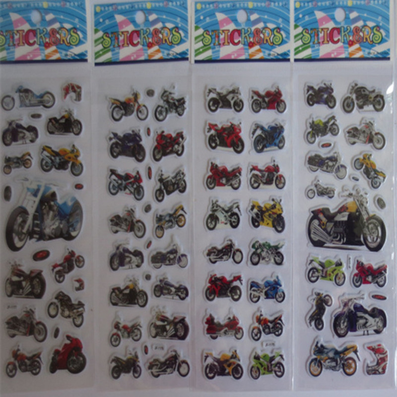wholesale 10pcs/lot Children Boys Various Cars and Motorcycle 3D Cartoon Stickers Best Christmas Gift Stickers for Baby Boys