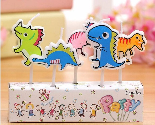 5pcs Set Happy Birthday Candles Decorations Lovely Cartoon Dinosaur Cake Baby Shower Party Deco Supplies