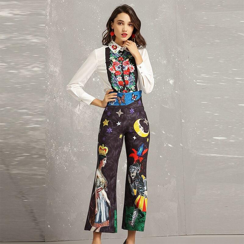 Luxe 2 Printemps Femelle Pièces Date Costumes Pleine Haute Qualité Mode Ensembles De Femmes Chemises Manches Chaude Mince 2019 Pantalon Flare w1xfTngT