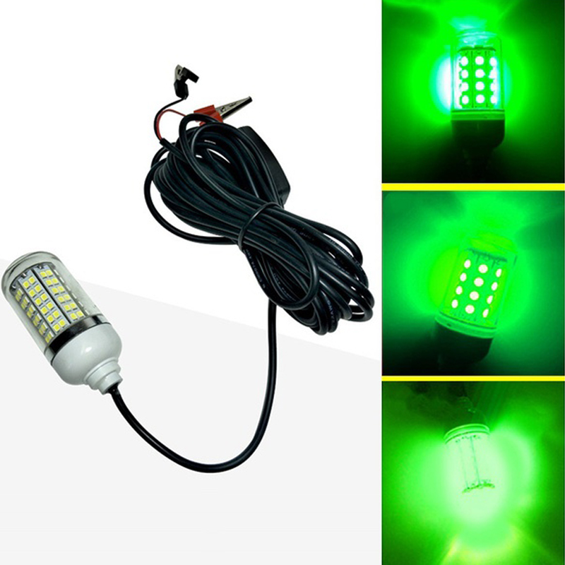 12V 15W fish light LED 108pcs LED IP67 Underwater Night Fishing Light Lures Fish Finder Lamp Crappie Shad Squid Boat Green light