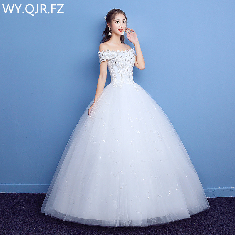 LYG-H05#Autumn Winter New Lace Up Red White Resin Drill Bride's Wedding Dress 2019 Plus Size Dresses Custom Cheap Wholesale