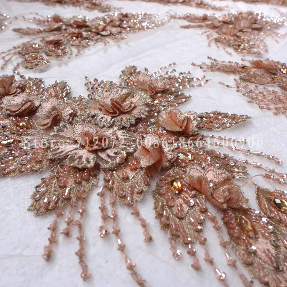 La Belleza 1 yards Nude rose pink Green heavy handmade lace beaded lace 3D flowers wedding