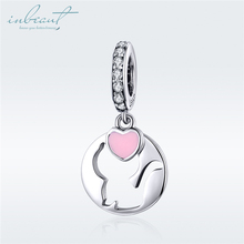 inbeaut Hot Sale 100% 925 Sterling Silver Enamel fit Pandora Bracelet Pink Heart Kitty Charms CZ Cat Bangle Beads Jewelry Making