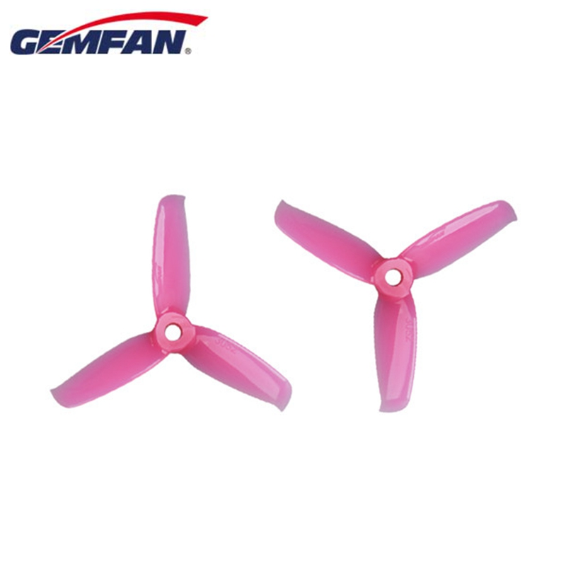 2 Pairs Gemfan Flash <font><b>3052</b></font> 3.0x5.2 PC 3-blade Propeller Prop 5mm Mounting Hole for 1306-1806 Motor RC Drone Blue Red Pink Black image