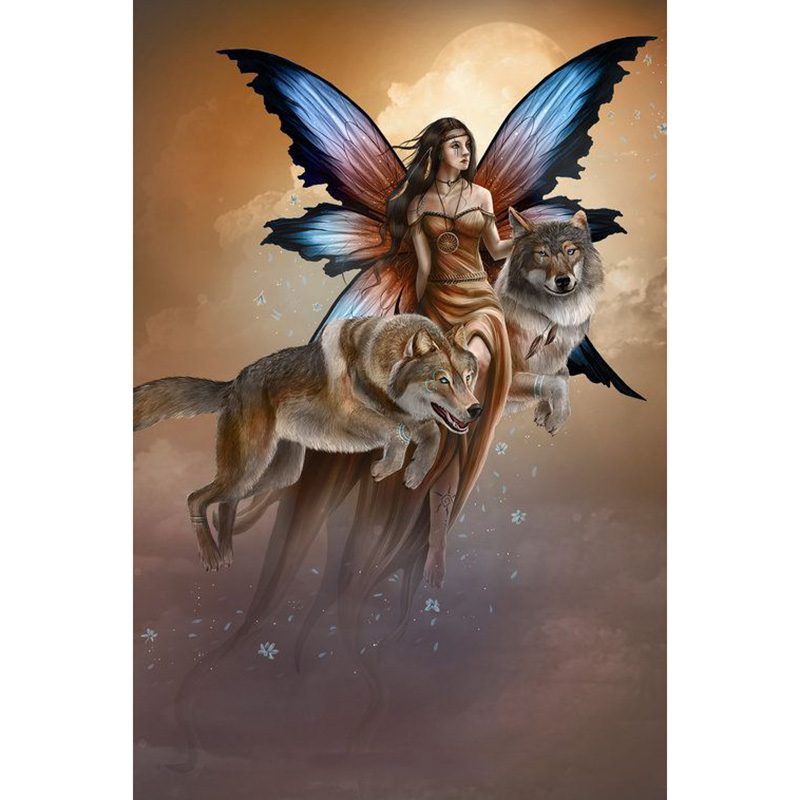 Full Square 5d Diy Diamond Painting Fairy And Wolf Embroidery