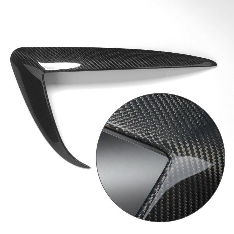 Pour accessoires de voiture noir 2 pièces voiture en Fiber de carbone pare-chocs phare antibrouillard cadre de Protection pour Tesla 3 voiture-style