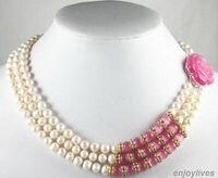 Schnelle SHIPPING3 Reihen Echte Weiße Perle Rosa Opal Rose Blume Schnalle Kristall Halskette