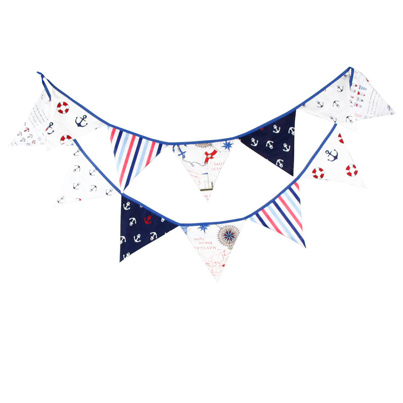 12 Flags 3 2m Handmade Cotton Fabric Bunting Pennant Flags Banner Garland Baby Show Home Out Door Party Decorative Supplies in Banners Streamers Confetti from Home Garden