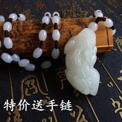 JADESt naturel sculpté blanc magique bête pendentif blanc perle collier exquis hommes et femmes chandail chaîne bijoux cadeaux