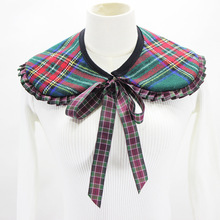 jeouLy tartan wool detachable collar Women's Girls Double Lace Fake False Collar Necklace for blouse Sweater coat plaid female