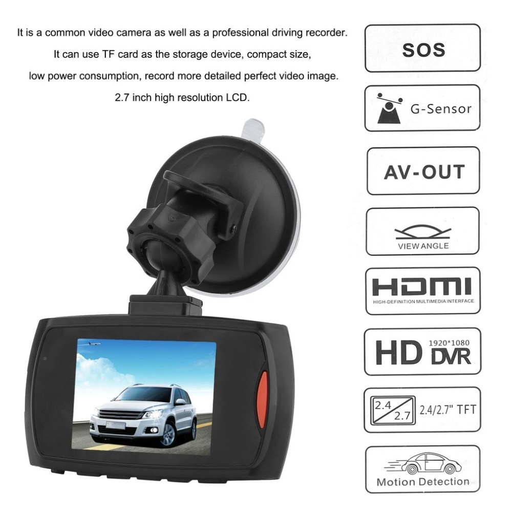 HD 720P Car DVR Camera Dash Cam Video 2.4inch LCD LCD DisplayNight Vision Vehicle Camera Recorder Night Vision drop shipping