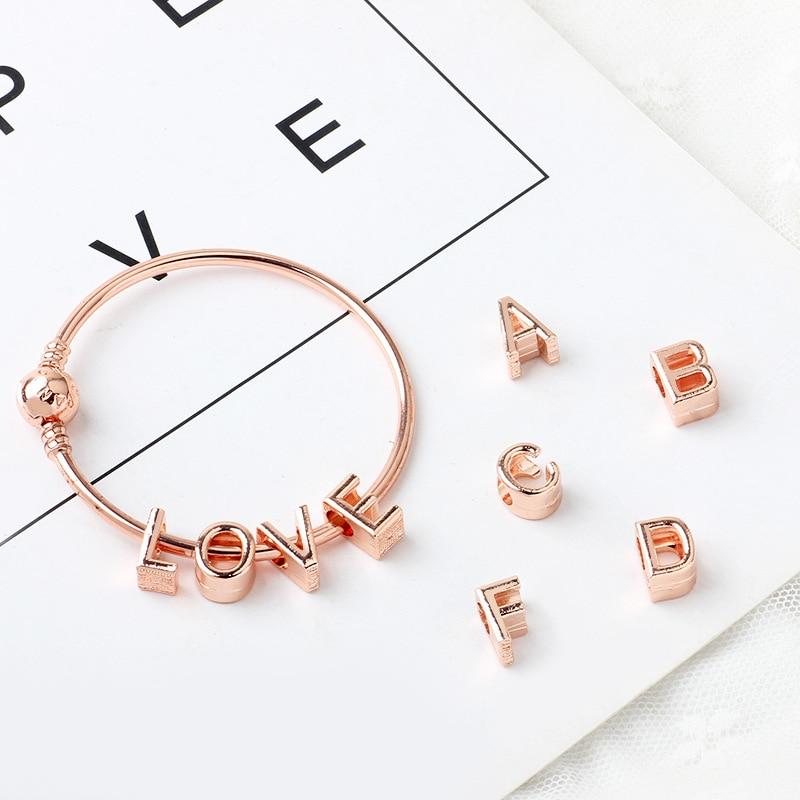 New Original Sliver Plated Bead Alloy Rose Gold A-Z Letter Alphabet Charms Fit Pandora Bracelets & Bangles DIY Jewlelry