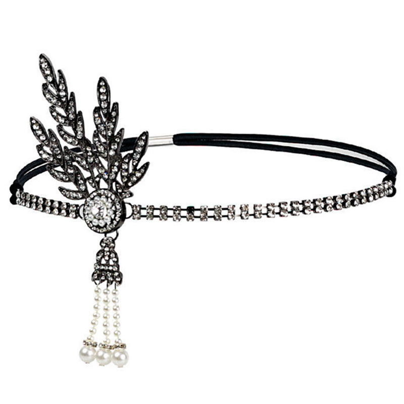 Saldi 2019 alta moda garanzia di alta qualità Art Deco Women 1920s Vintage Bridal Headpiece Costume Hair Accessories  Flapper Great Gatsby Leaf Medallion Pearl Headband
