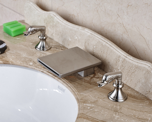 Deck Mounted Bathroom Basin Faucet Nickel Brished Widespread 3pcs Waterfall Spout Mixer Tap nickel brushed led waterfall spout bathroom sink faucet widespread 3pcs basin mixer tap
